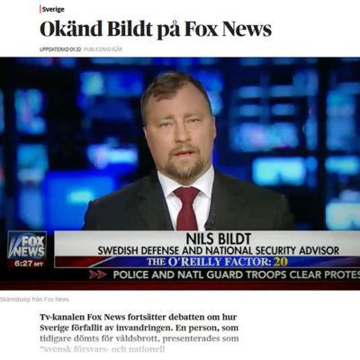 Den så kallade säkerhetsexperten Nils Bildt intervjuades om flyktingsituationen i Sverige av tv-kanalen Fox i USA.