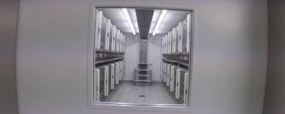 En stängd dörr med litet fönster. Genom fönstret ser man djurens burar på rad. Sterila, vita förhållanden. Gråskala.