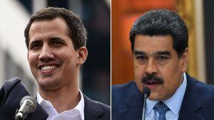 Ordföranden för Venezuelas nationalförsamling Juan Guaidó till vänster och landets sittande president Nicolás Maduro till höger.