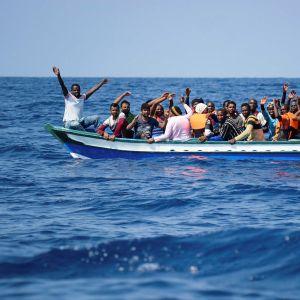 Migranter som räddas på Medelhavet