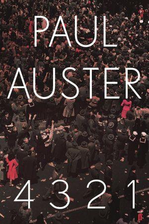 """Pärmbild till romanen """"4,3,2,1"""" av Paul Auster."""