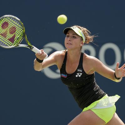 Tennisspelare under match.