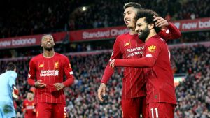 Liverpool firar Mohamed Salahs mål.