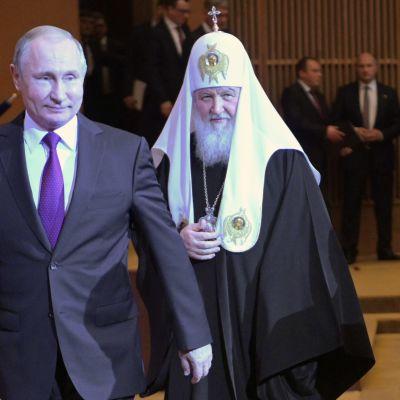 Rysslands president Vladimir Putin och Kirill, patriarken i Moskva