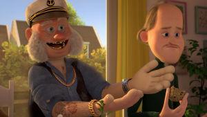 Onkel Stuart och plastpappan Jörn från filmen Ternet Ninja sitter bredvid varandra.