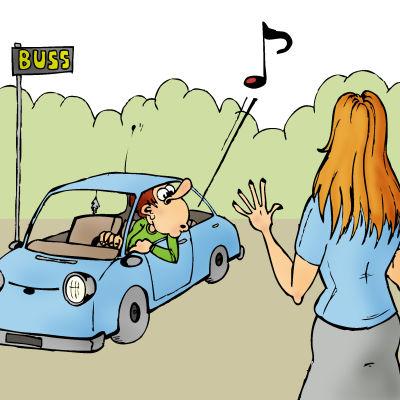 Man i bil visslar åt kvinna