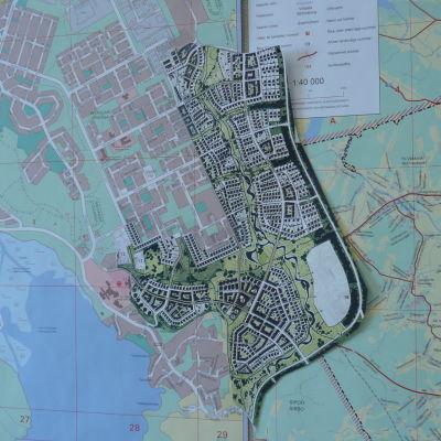 Skiss över bostadsområdet Skaftkärr i Borgå