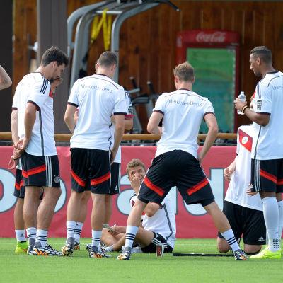 Tysklands lag under en träningssession i Santo Andre i Brasilien den 12 juni 2014.