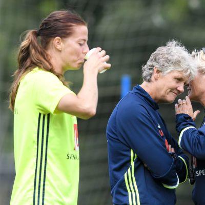 Lotta Schelin och Pia Sundhage på träning.