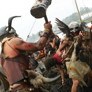 Deltagare i en vikingfestival i Spanien.