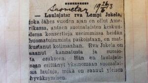 Pieni uutinen Suomettaressa Lempi Jokelan konsertista.