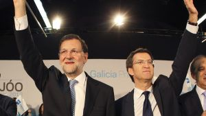Spaniens premiärminister Mariano Rajoy och Galiciens president Alberto Nunez Feijoo under valkampanjen i Galicien.