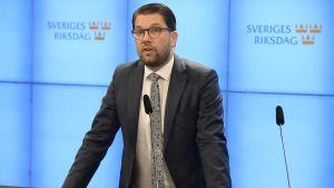 Ruotsidemokraattien johtaja Jimmie Åkesson.