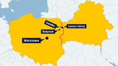 Karta över gränsen mellan Polen och Belarus med orterna Bialystok, Sokolka, Usnarz Gorny och Warszawa utsatta.