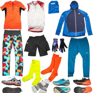 Sportkläder för löpare: skjortor, skor, jackor, handskar och sockor.