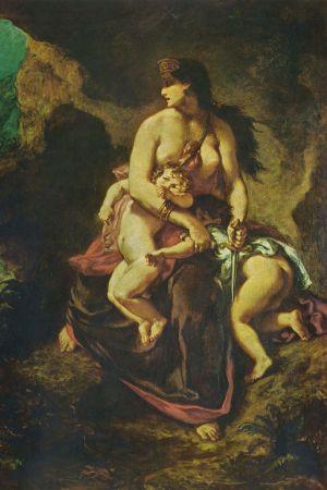 Medea från den grekiska mytologin, i färd med att döda sina barn.