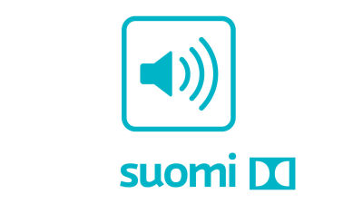 A turquoise symbol with an audio speaker with sound waves going to the right, underneath the text Suomi and the dolby surround symbol.
