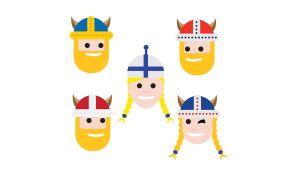 En emoji som föreställer 5 huvuden där alla bär en mössa eller vikingahjälm i de nordiska flaggornas färger