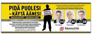 Rakennusliiton mainos Helsingin Sanomissa