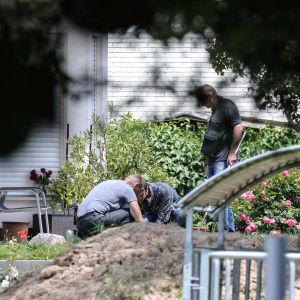 Polisen undersöker en somrig trädgård.