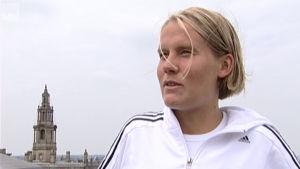 Jessica Julin i Sportmagasinets intervju i Preston 2005.