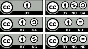 Erilaiset kuvakkeet, joilla kerrotaan CC-kuvien käyttöoikeuksista