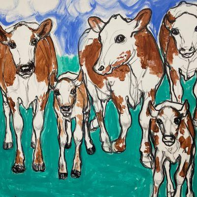 Miina Äkkijyrkän maalaus lehmistä rivissä.