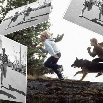 Kuva koostuu kolmesta kuvasta. Alimmaisessa kuvassa juoksee kaksi poikaa ja Susikoira Roi. Kolme päällimmäistä kuvaa ovat samanlaisia. Niissä Pertsa ja Kilu juoksevat poispäin satamasta.
