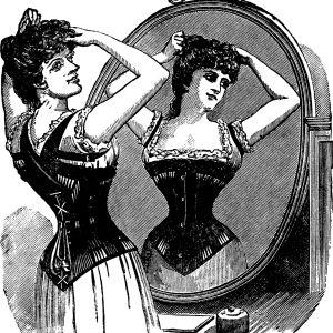 Kvinna i korsett, reklam från 1800-talet.