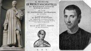 Niccolò Machiavelli. Staty av Lorenzo Bartolini, Titelblad ur Furstenutgåva från 1550. Kopparstick