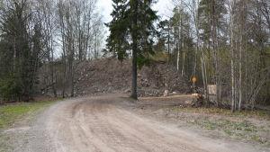En stor jordhög i änden av en skogsväg.