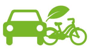 Ympäristövastuun kuvituskuva, auto, polkupyörä ja puun lehti.