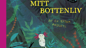 Omslaget på Linda Bondestams bok. Ett illustrerat groddjur.