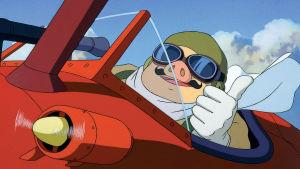 Sika lentäjänä: kuva Hayao Miyazakin animaatioelokuvasta Porco Rosso.