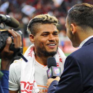 Josef Martinez intervjuas efter matchen mot DC United.