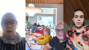 Aila Seppälä, Antti Toivanen perheineen ja Atte Ahokas.