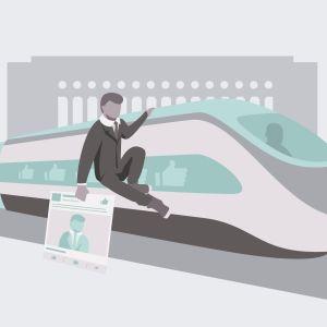 Symbolisk bild av en riksdagsvalskandidat som åker snålskjuts på ett tåg med sin Facebooksida i handen.