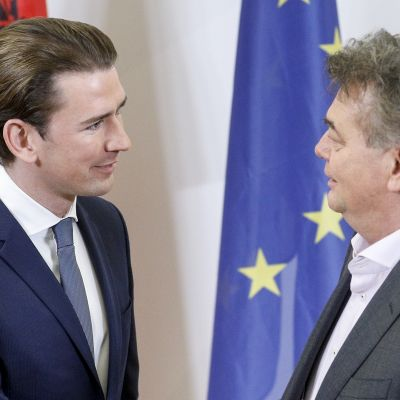 Sebastian Kurz och Werner Kogler skakar hand