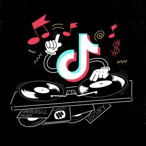 En lite rolig ritad illustration av Dj TikTok (det vill säga TikTok-logotypen bakom en DJs däck) spelar musik av Universal, Sony och Warner i sin egen takt.