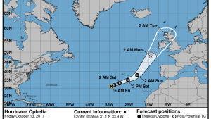 Orkanen Ophelia väntas röra sig så här.
