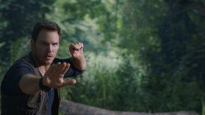 Chris Pratt höjer händerna framför sig.