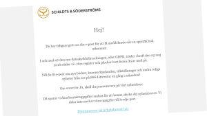 Mejl av Schildts & Söderströms.
