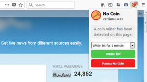 Skärmdump på en engelskspråkig blogg som använder kryptokapning.