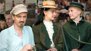 Etualalla kuva sarjasta Venny, näyttelijät Ville Virtanen, Miina Turunen ja Sara Paavolainen.