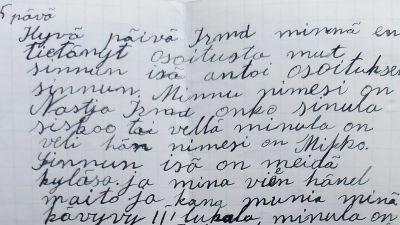 Aunuksenkarjalaisen tytön kirje suomalaistytölle (1942).