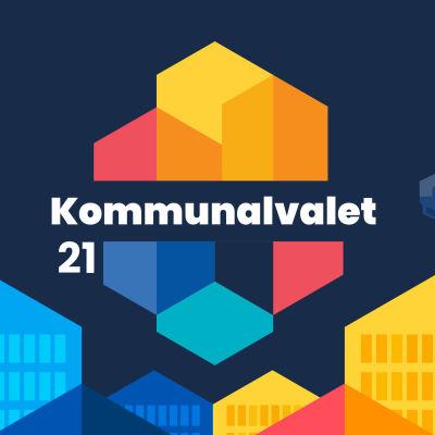 Illustrerad bild med kommunalvalets logo omgiven av olikfärgade hus
