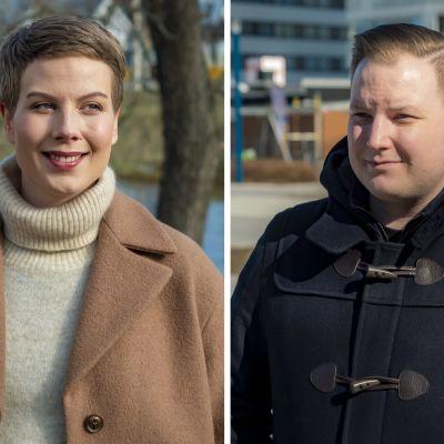 Kansanedustajat Jenni Pitko (Vihr.) ja Janne Heikkinen (Kok.)