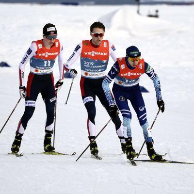 Åkare i nordisk kombination vid VM 2021.