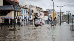 Översvämning i Fort-de-France på Martinique efter orkanen Maria.