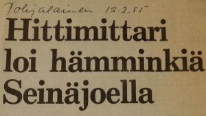 Pohjalainen-lehden otsikko 12.2.1985.